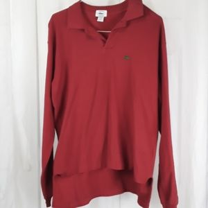 Lacoste sz M red long sleeve polo style shirt